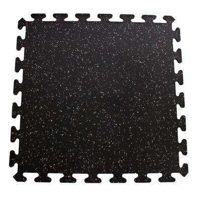 Black with Gray Speck 24 in. x 24 in. Interlocking Recycled Rubber Floor Tiles (24 sq. ft.)