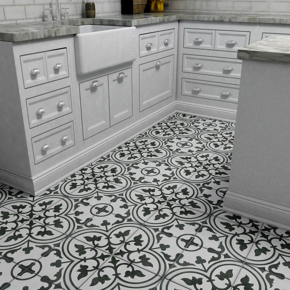 Merola Tile Arte White Encaustic 9 3 4, Porcelain Bathroom Tiles Home Depot