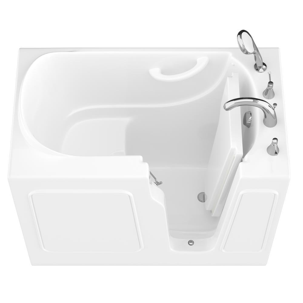 HD Series 26 in. x 46 in. Right Drain Quick Fill Walk-In Soaking Bathtub in White