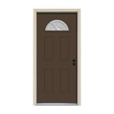 30 in. x 80 in. Fan Lite Langford Dark Chocolate Painted Steel Prehung Left-Hand Inswing Front Door w/Brickmould