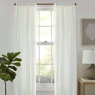 Sheer Island Eyelet White 72in. W X 84in. L Pole Top Panel Pair
