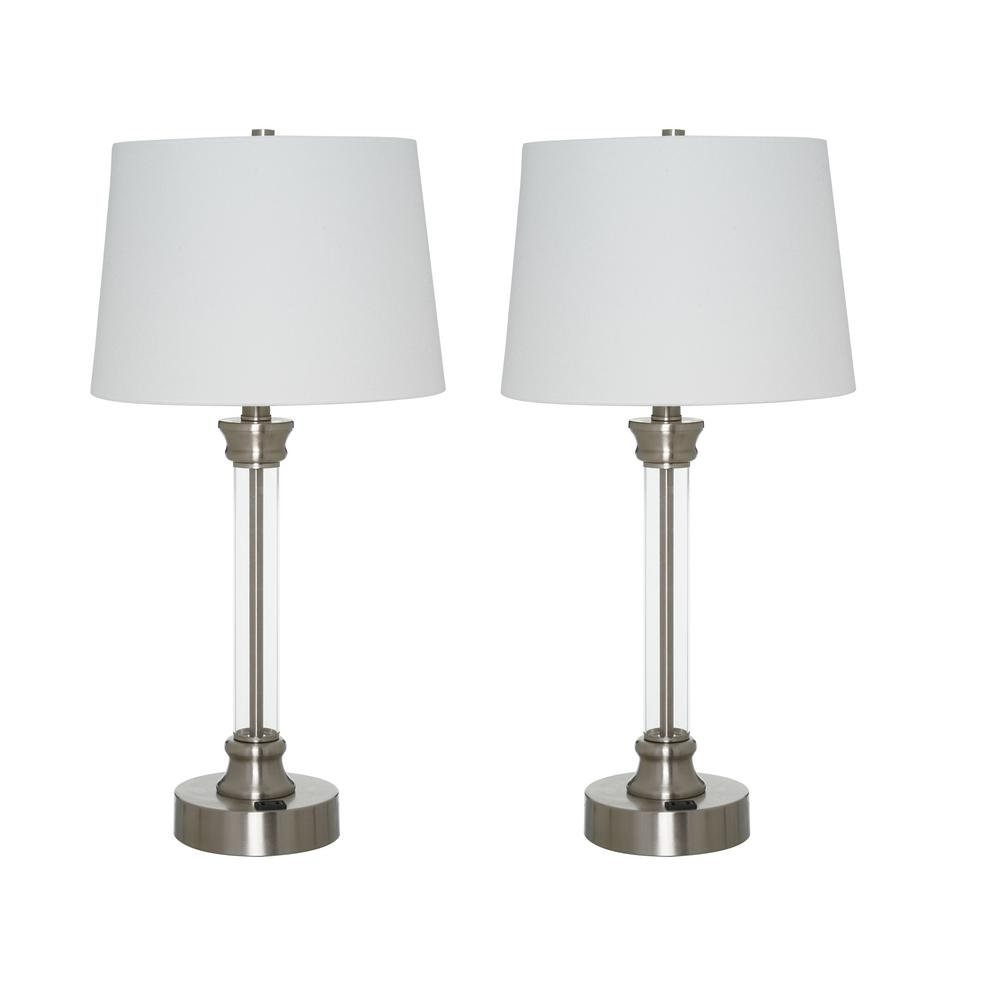 Alsy Alsy 24.5 in. Brushed Nickel Clear Acrylic Table Lamp Twin Pack with Off White Linen Shade