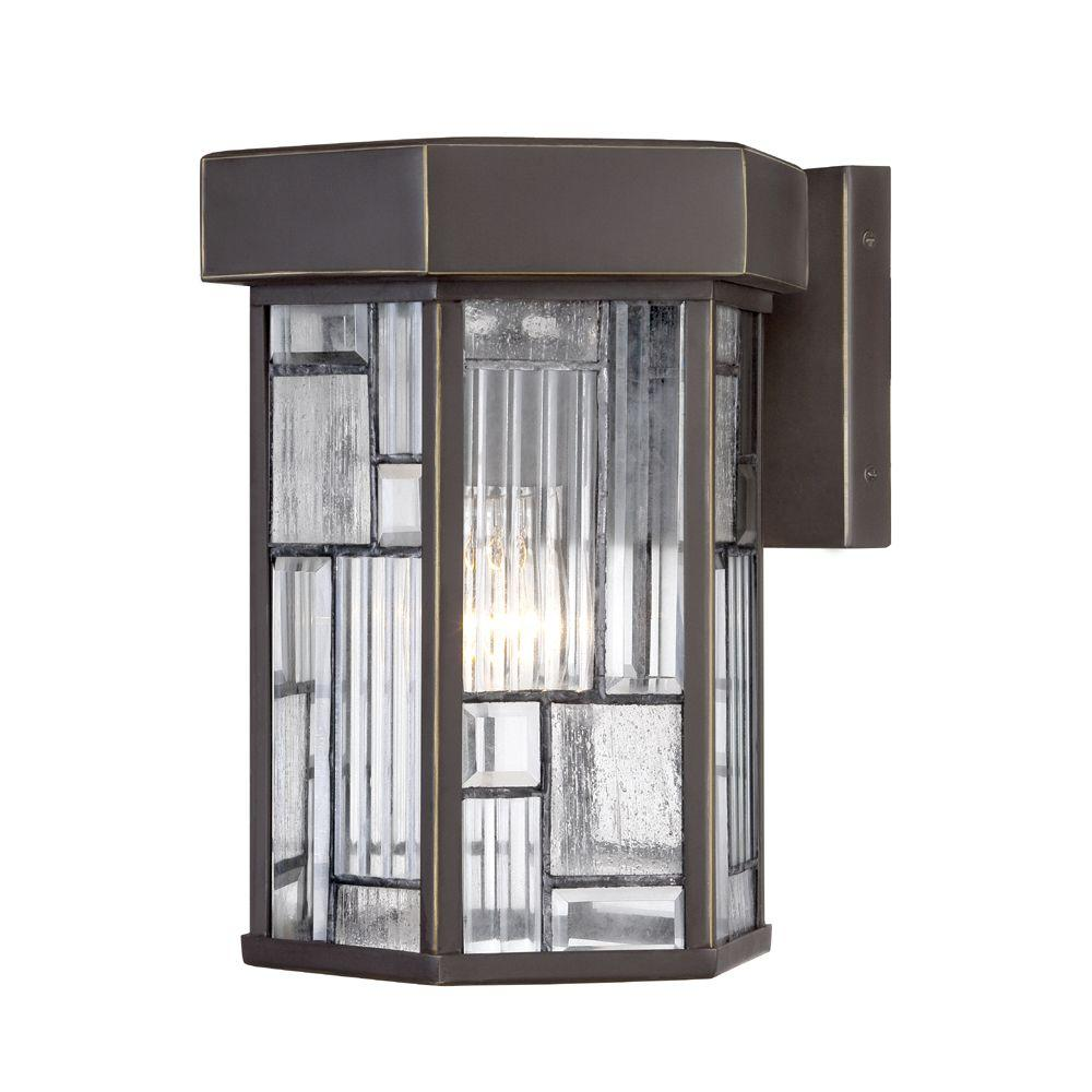 Designers Fountain Kingsley 1 Light Aged Bronze Patina Outdoor Incandescent  Wall Lantern 32121 ABP   The Home Depot