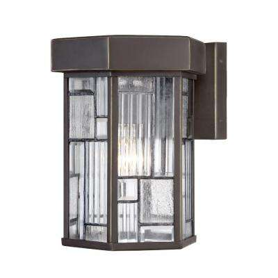 Kingsley 1-Light Aged Bronze Patina Outdoor Incandescent Wall Lantern