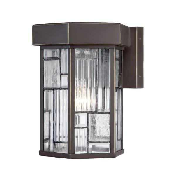 Kingsley 1-Light Aged Bronze Patina Outdoor Incandescent Wall Lantern Sconce
