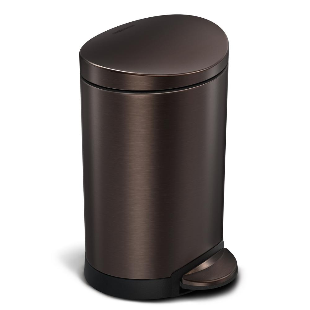 Simplehuman 6 Liter Dark Bronze Stainless Steel Semi Round Step On Trash Can Cw2038 The Home Depot