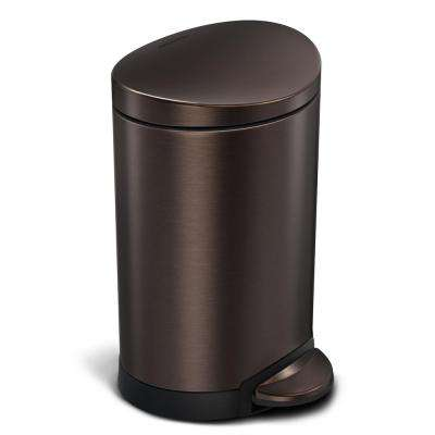 6-Liter Dark Bronze Stainless Steel Semi-Round Step-On Trash Can