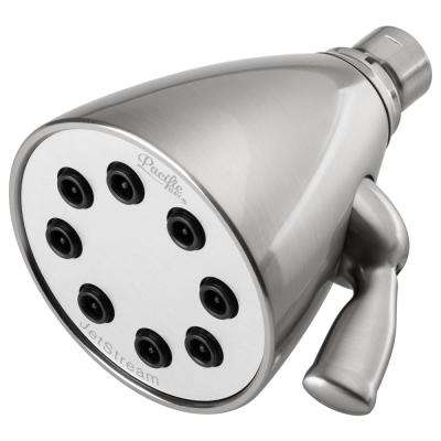 JetStream 8-Spray Shower Head with Heavy Duty Metallic Construction and Quick Adjusting Jets in Brushed Satin Nickel