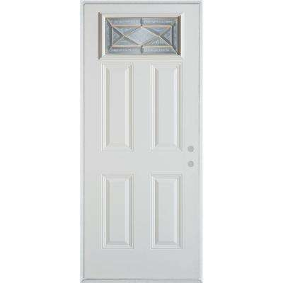 32 in. x 80 in. Art Deco Rectangular Mini Lite 2-Panel Painted White Left-Hand Inswing Steel Prehung Front Door