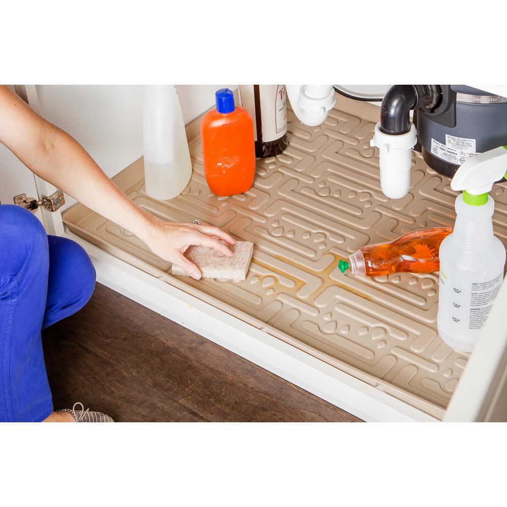 Beige Kitchen Depth Under Sink Cabinet Mat Drip Tray Shelf Liner 33 5 8 In X 21 7