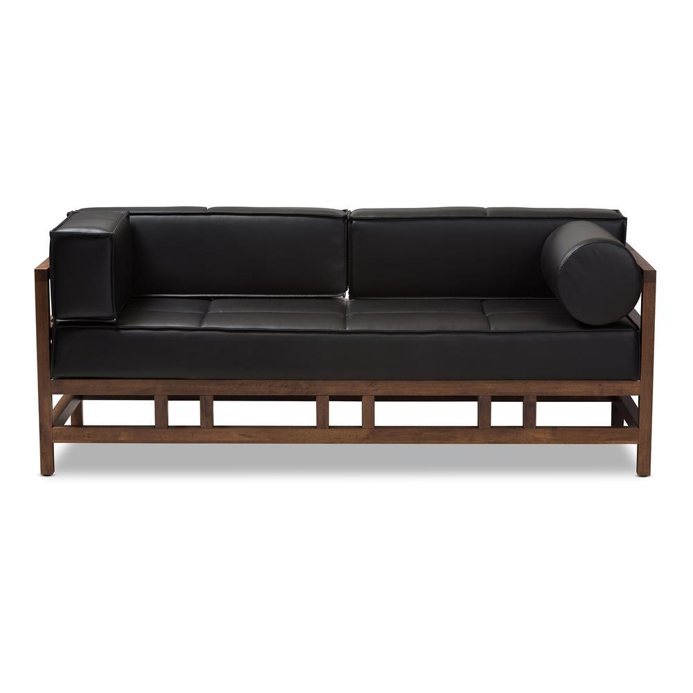 Shaw Black Faux Leather Sofa