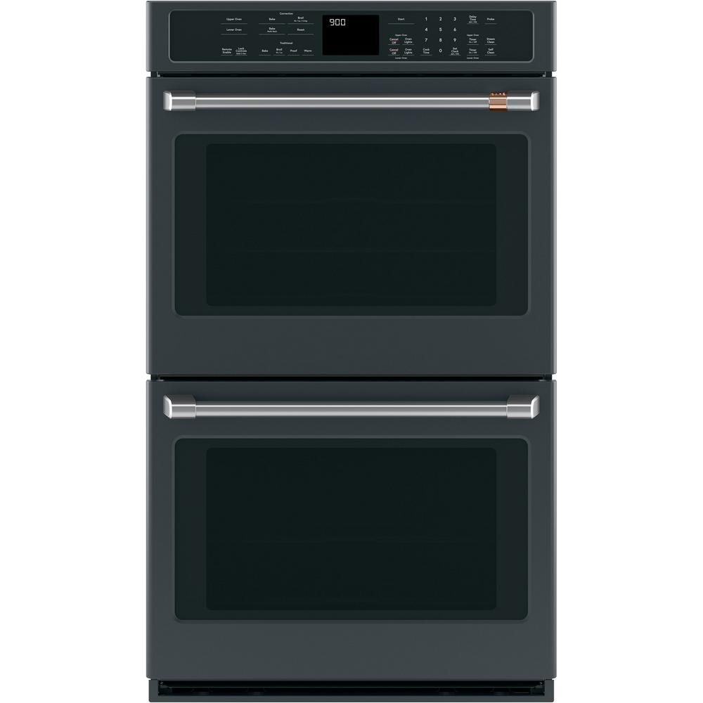 Cafe 30 in. Double Electric Wall Oven with Convection Self-Clean in Matte Black, Fingerprint Resistant