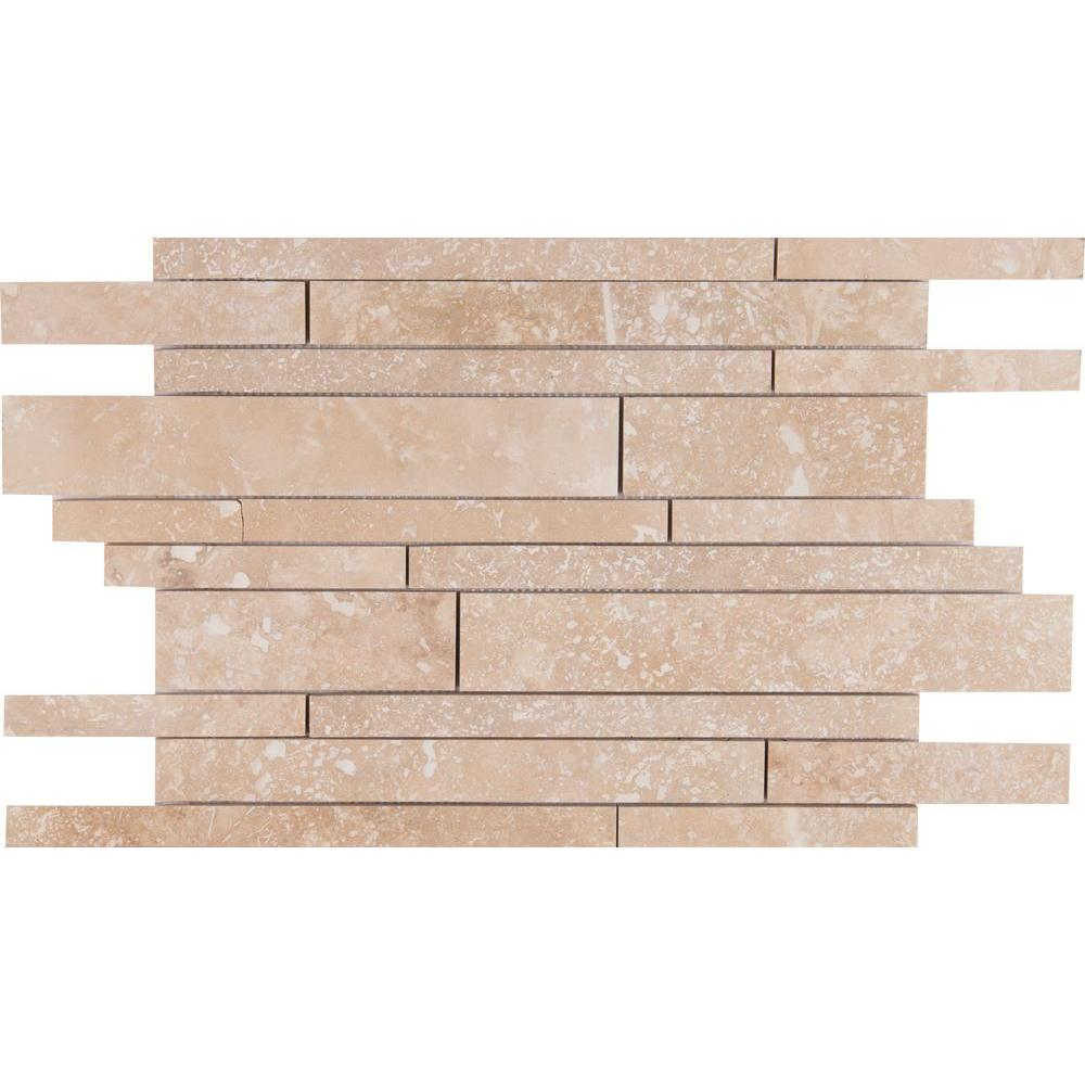 Ivory Travertine Interlocking 12 in. x 18 in. x 10 mm