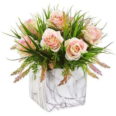 Indoor Roses and Grass Artificial Arrangement in Marble Finished Vase