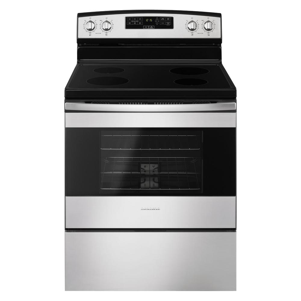 amana 4 8 cu ft electric range in stainless steel aer6303mfs the rh homedepot com Amana Self-Clean Wall Oven Amana Self-Clean Gas Oven