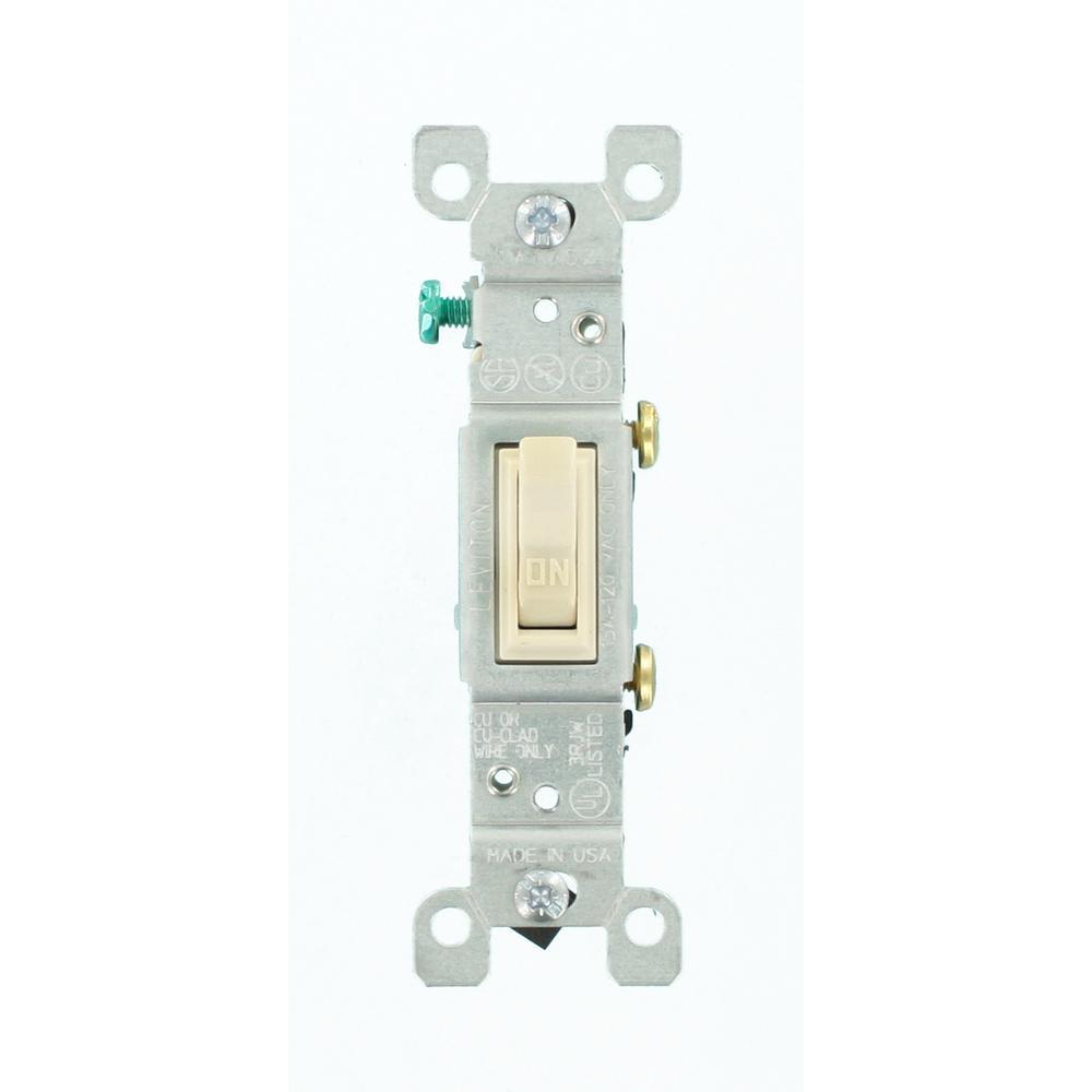 Leviton 15 Amp Single-Pole Toggle Switch, Light Almond