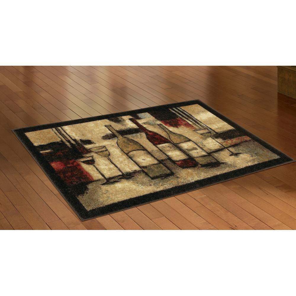 Mohawk Home Wine and Glasses 2 ft. 6 in. x 3 ft. 10 in. Kitchen Rug
