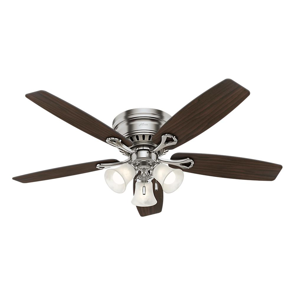 Hunter oakhurst 52 in led indoor low profile brushed nickel hunter oakhurst 52 in led indoor low profile brushed nickel ceiling fan with light kit 52125 the home depot mozeypictures Images