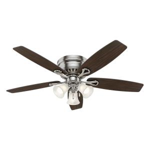 led indoor low profile brushed nickel ceiling fan with light kit - Hampton Bay Ceiling Fans