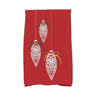 16 in. x 25 in. Red Filagree Ornaments Holiday Geometric Print Kitchen Towel