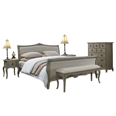 Grey Moden Sleigh Queen Bedroom Set All Solid Mahogany Wood, Includes Bed, 2-Side End Tables, Bench and Dressor