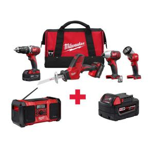 Milwaukee M18 18-Volt Lithium-Ion Cordless Combo Kit (4-Tool) with Free M18 Radio and M18 5.0AH Battery by Milwaukee