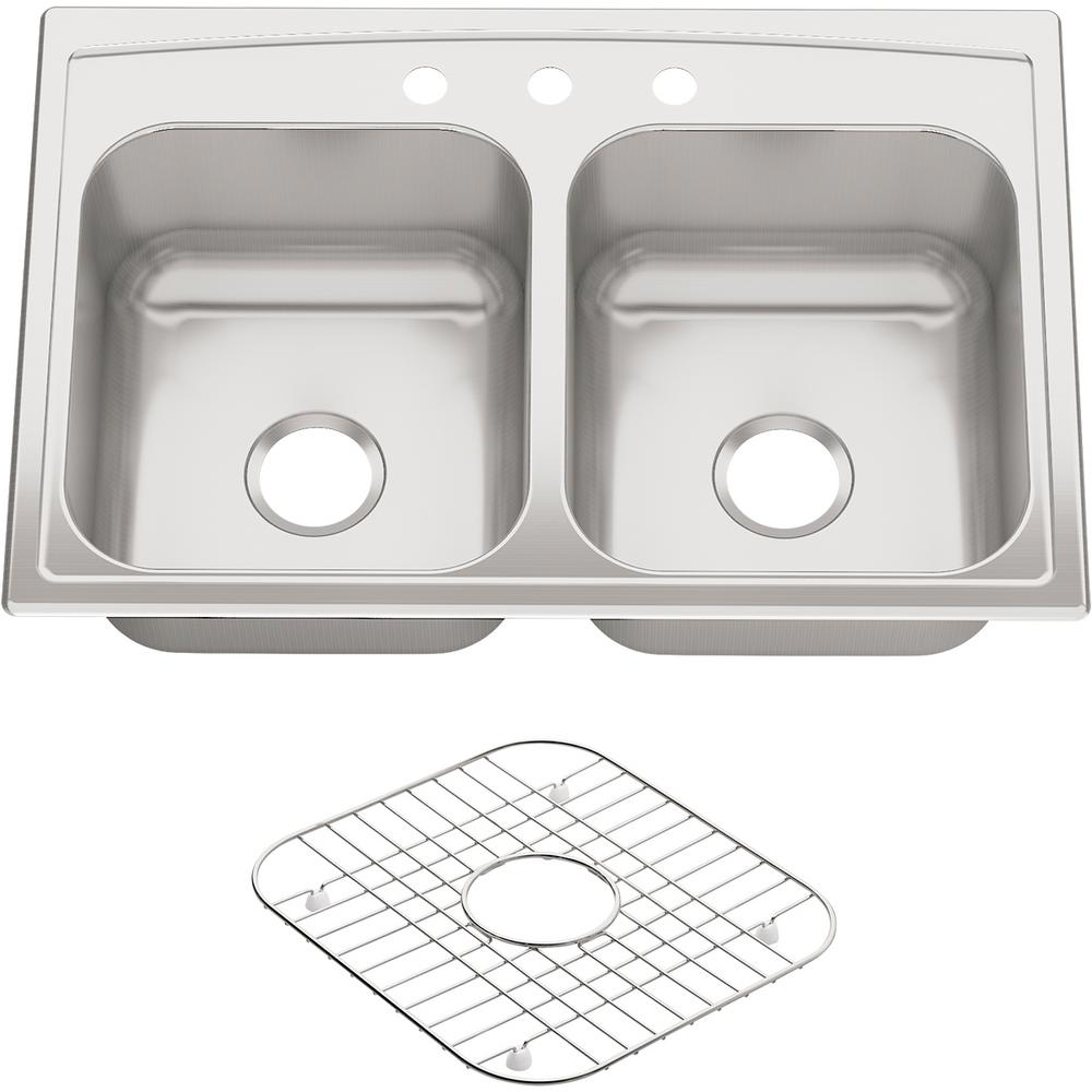 KOHLER Toccata Drop-In Stainless Steel 33 in. 3-Hole Double Bowl Kitchen  Sink