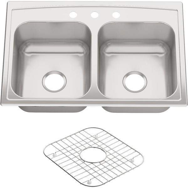 Toccata Drop-In Stainless Steel 33 in. 3-Hole Double Bowl Kitchen Sink
