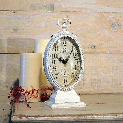 Metal Oval White Table Clock