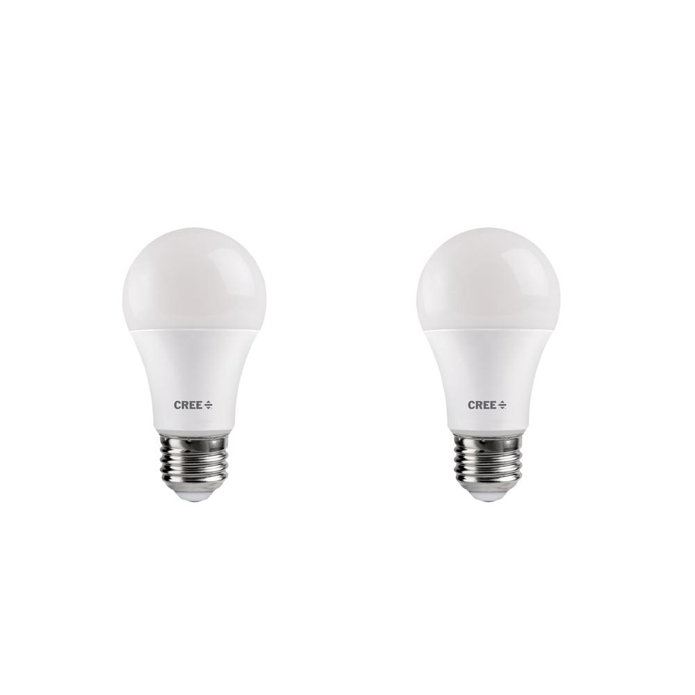 Cree 40W Equivalent Bright White (3000K) A19 Dimmable Exceptional Light Quality LED Light Bulb (2-Pack)