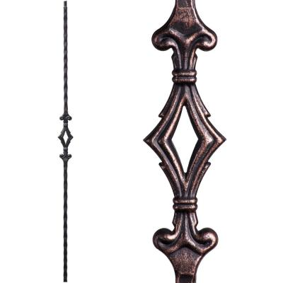 Tuscan Square Hammered 44 in. x 0.5625 in. Oil Rubbed Bronze Single Diamond Solid Wrought Iron Baluster