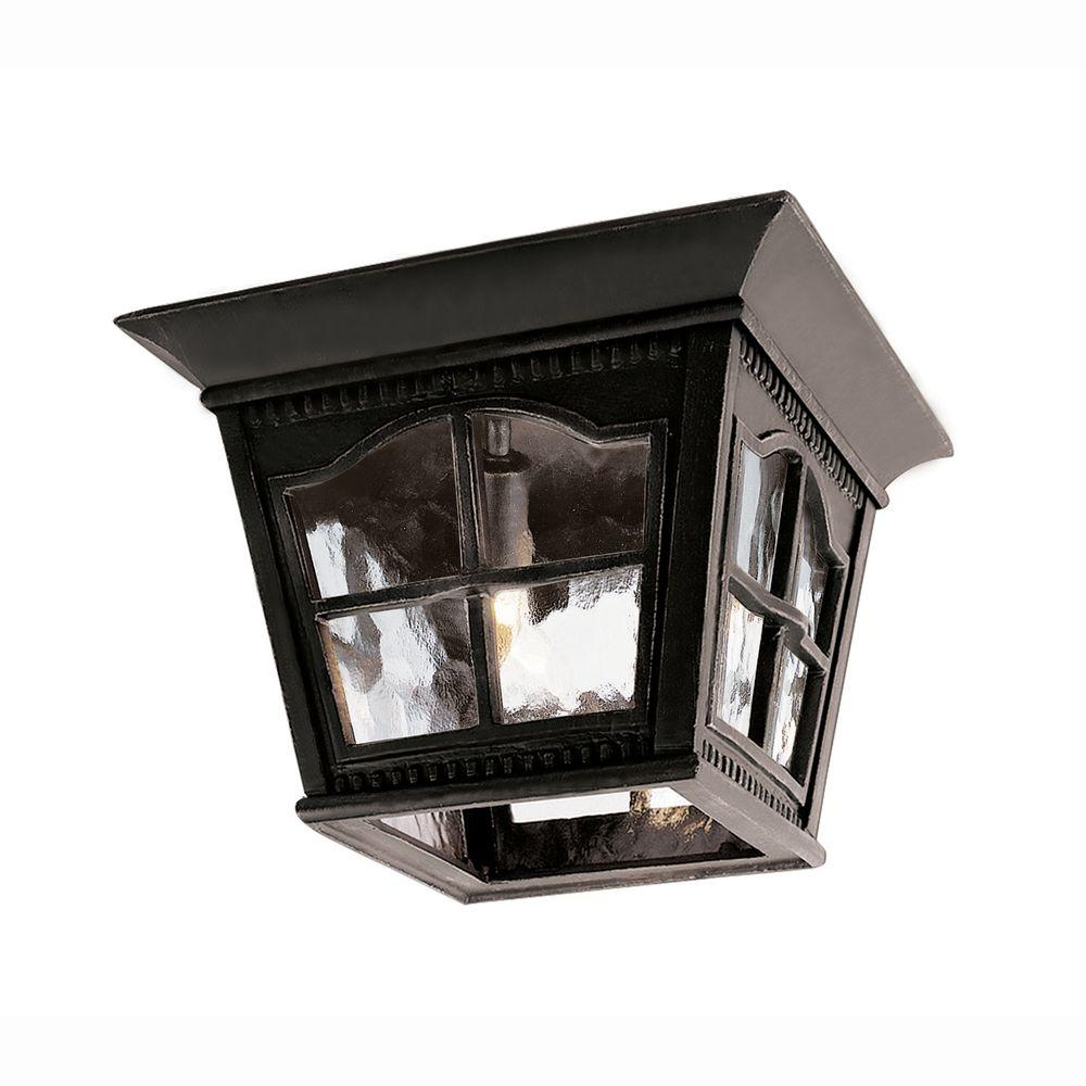 Bel Air Lighting Bostonian 3 Light Outdoor Black Flush Mount Fixture With Water Gl