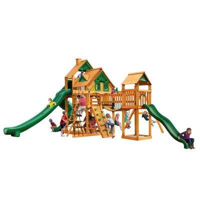 Treasure Trove II Treehouse Swing Set with Amber Posts