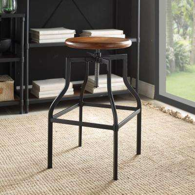 Alston Adjustable Height Black and Chestnut Bar Stool