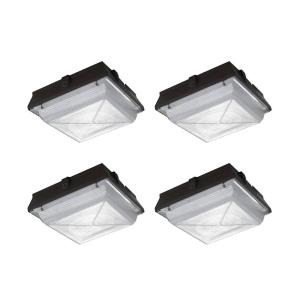 150-Watt Equivalent Integrated LED Dark Bronze Outdoor Security Lighting Canopy and Area Light with 2200 Lumens (4-Pack)