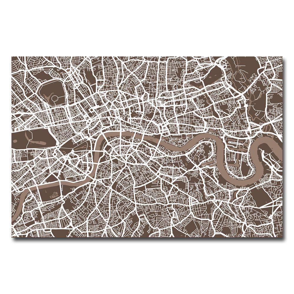 Trademark Fine Art 30 in. x 47 in. London Street Map II Canvas Art