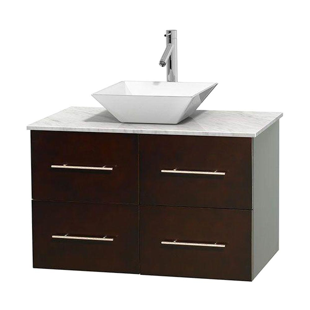 Wyndham Collection Centra 36 in. Vanity in Espresso with Marble Vanity Top in Carrara White and Porcelain Sink