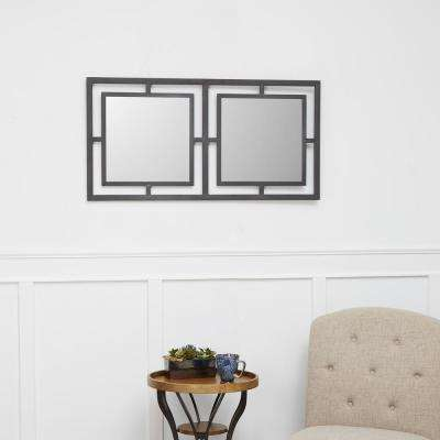 Beth Stacked Square Gunmetal Gray Decorative Mirror
