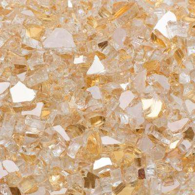 1/4 in. 10 lb. Gold Reflective Tempered Fire Glass