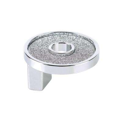 Crystal Collection 1.25 in. Round Sparkling Chrome and Crystal Knob With Hole