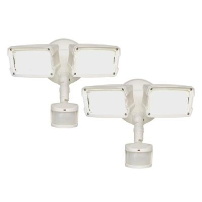 180-Degree 5000K White Motion Activated Outdoor Integrated LED Twin-Head Security Flood Light (2-Pack)
