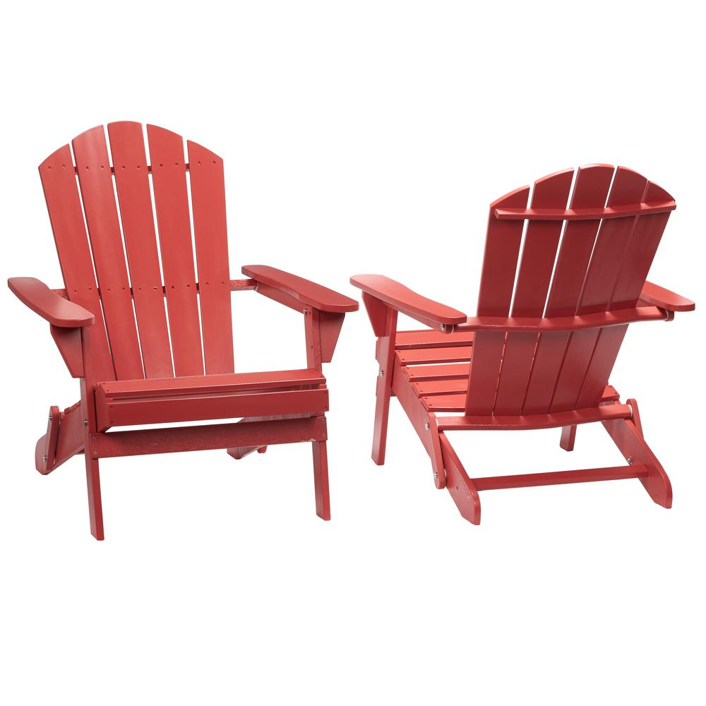 Hampton Bay Chili Red Folding Outdoor Adirondack Chair (2-Pack ...