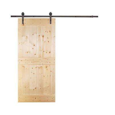 Mid-Bar 42 in. x 84 in. Unfinished Knotty Pine Wood Interior Sliding Barn Door with Hardware Kit