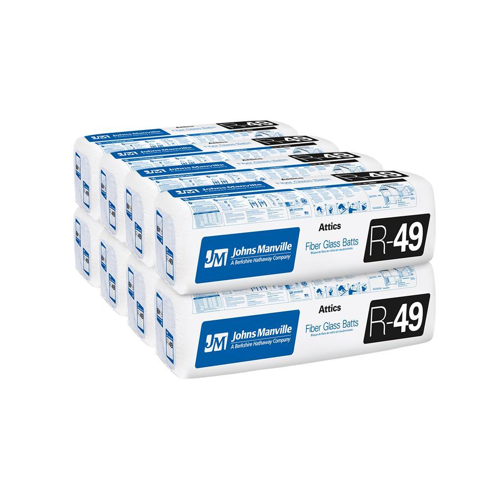 R-49 Unfaced Fiberglass Insulation Batt 24 in. x 48 in. (8-Bags)