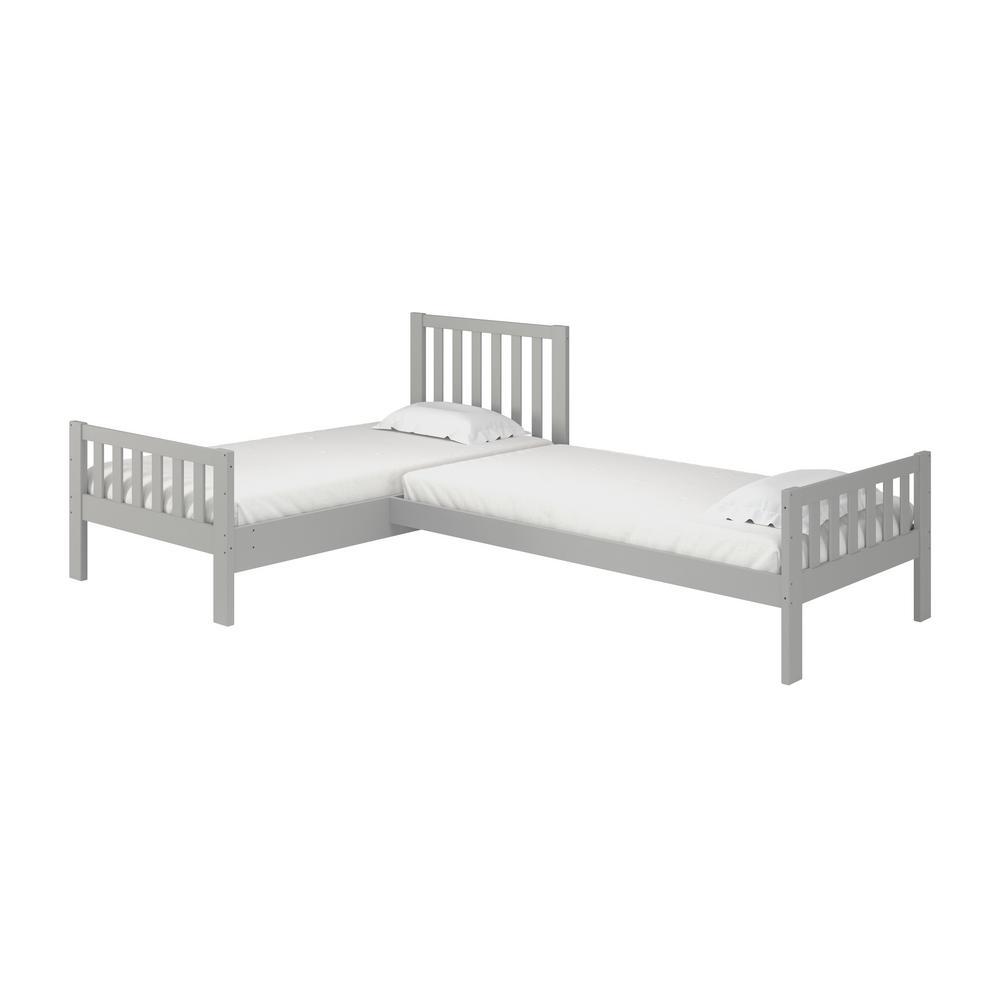 Aurora Dove Gray Twin Corner Twin Wood Bed