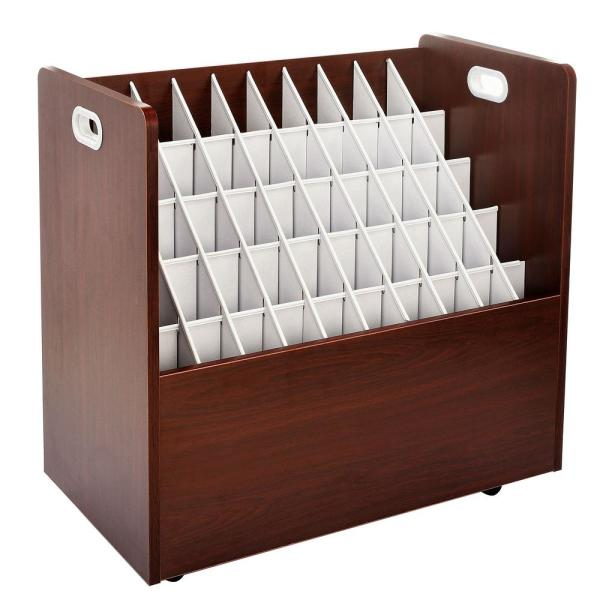 AdirOffice 50-Compartment Mahogany Mobile Wood Roll File Storage Organizer