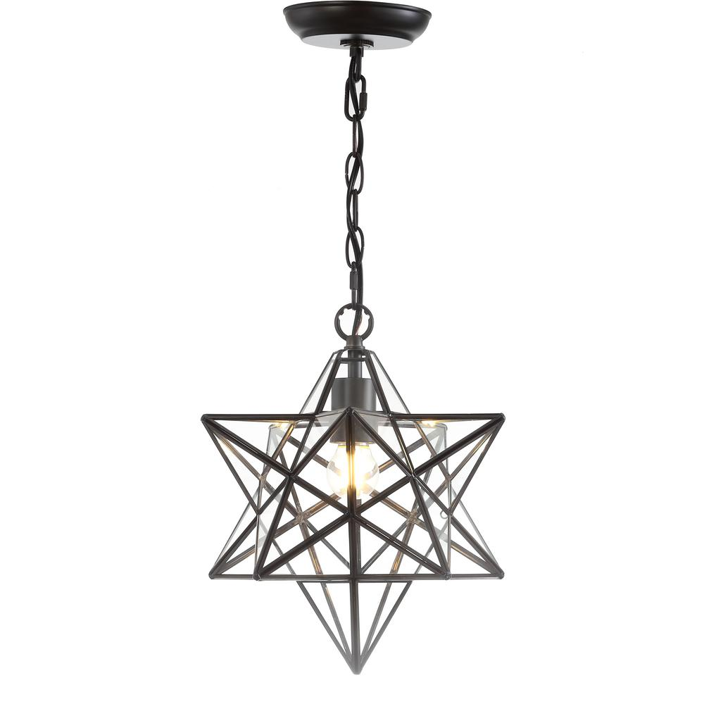 JONATHAN Y Stella 1-Ligth Oil Rubbed Bronze Moravian Star Metal/Glass LED  Pendant