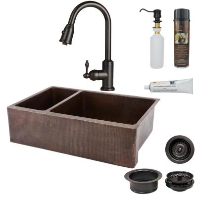 All-in-One Undermount Hammered Copper 33 in. 0-Hole 25/75 Double Bowl Kitchen Sink in Oil Rubbed Bronze