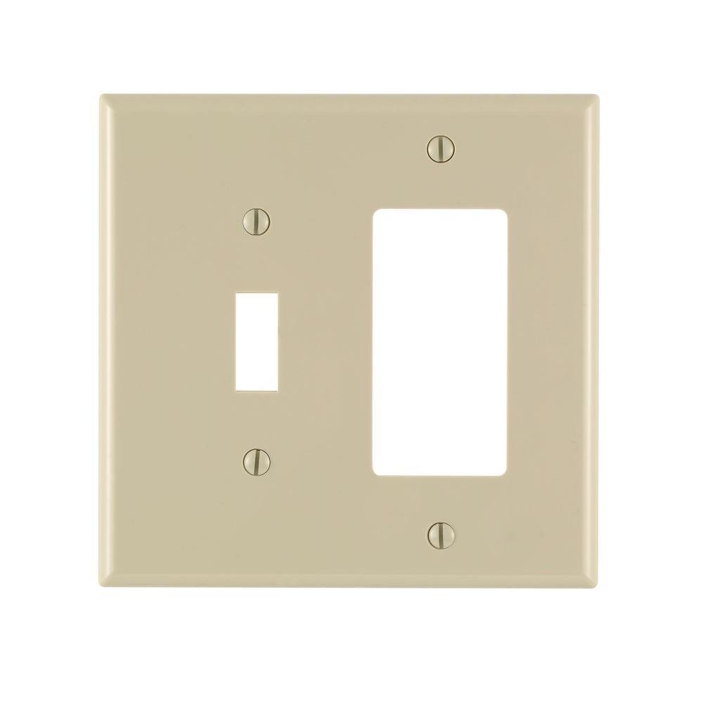 Leviton Decora 2 Gang Midway 1 Toggle Combination Nylon Wall Plate