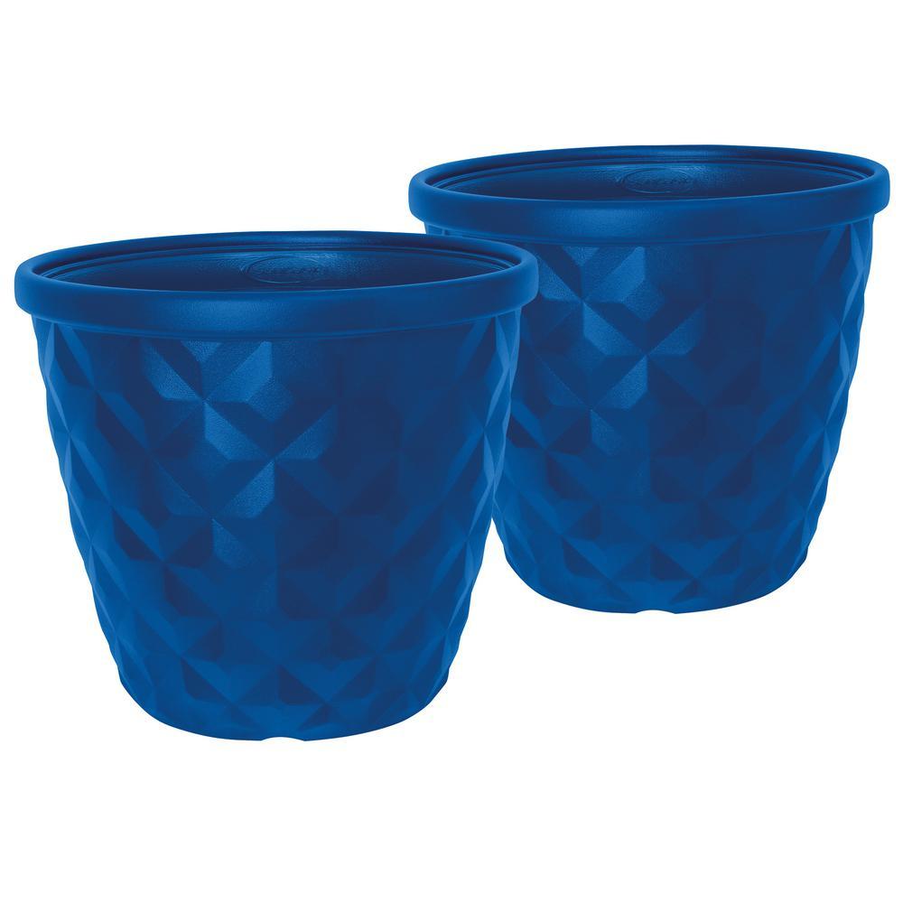 Pinehurst 16.2 in. Dia Blue Resin Planter (2-Pack)